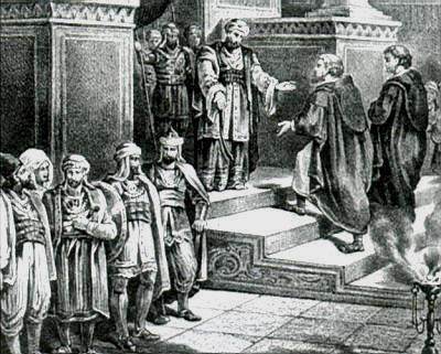 Abderamán III recibe a una comisión de emisarios cristianos.