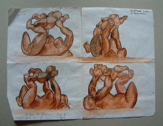 Dibujo de Baltasar Lobo para el proyecto de una de sus maternidades