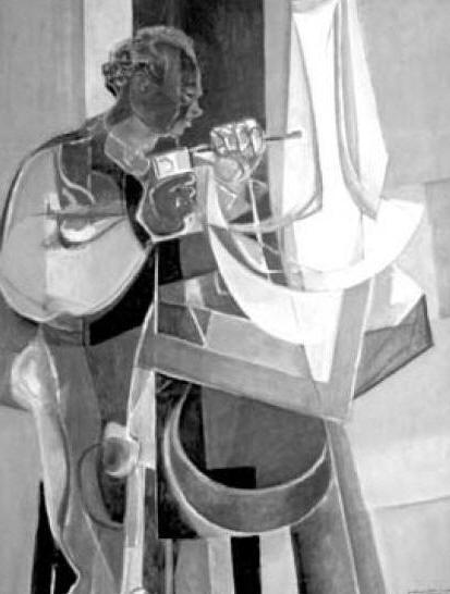 """Baltasar Lobo en su taller. Oleo de Dayez. Fuente: """"Solidario"""" nº18"""