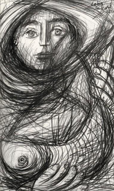 Dibujo de una campesina. Baltasar Lobo