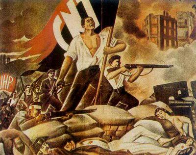 Cartel de propaganda de la Confederación Nacional del Trabajo (C.N.T.) y la Unión de Hermanos Proletarios (U.H.P.)