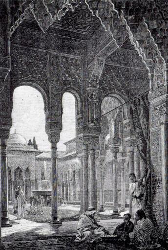 Dibujo del Palacio de la Fuente de los Leones. Alhambra