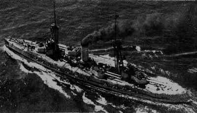 """""""Jaime I"""", buque de guerra de la II  República.Tras el bombardeo de Málaga, se refugió en Almería,donde fue alcanzado por tres bombas.Remolcado a Cartagena, una explosión interna (300 muertos) provocó su total destrucción."""
