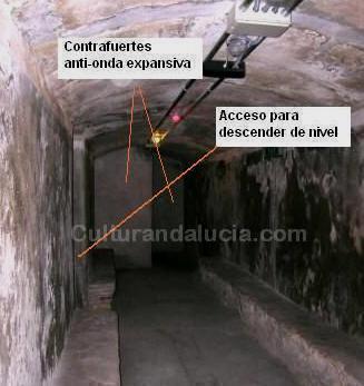 Contrafuertes anti-onda expansiva y entrada a galería en nivel inferior.