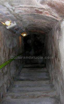 Escalera de descenso a un nivel inferior del refugio. Foto: M.Soler