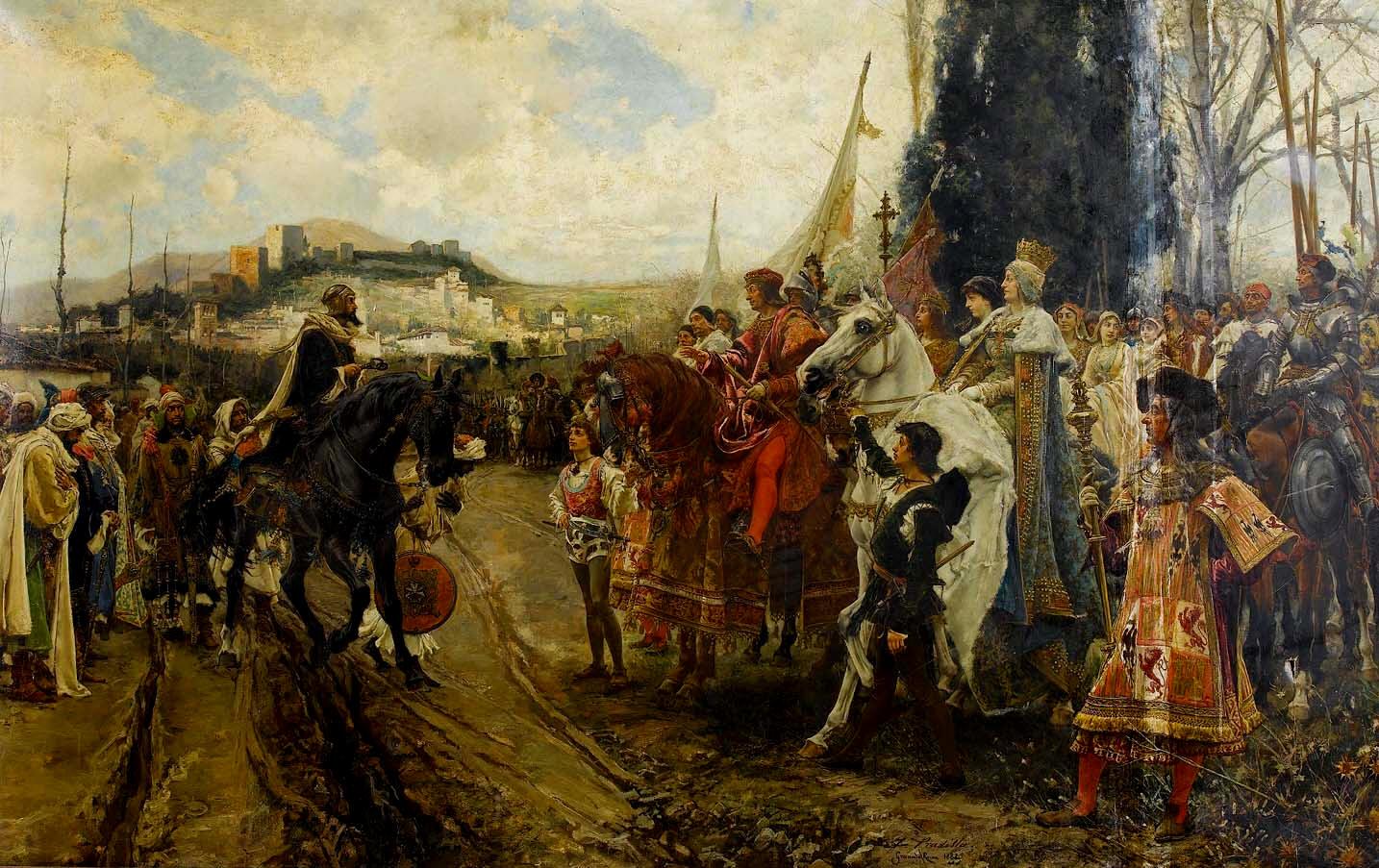 """(...)"""" El rey e la reina, vista la carta e enbaxada del rey Babdili, aderesçaronde ir a tomar el Alhambra; e partieron del real, lunes, dos días de henero, con grand hueste, muy ordenadas sus batallas; e llegando a cerca del Alhambra, salió el rey moro Muley Babdili, acompañado de muchos cavalleros moros, con las llaves en las manos, encima de un cavallo. E quísose apear a besar la mano del rey, e el rey no se lo consentió descavalgar del cavallo ni le quiso dar la mano;e el rey moro le besó en el braço, e le dió las llaves e dixo:"""