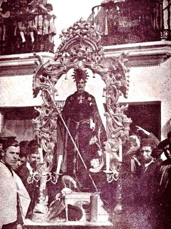 Foto de la procesión de San Antonio Abad en 1.935 en Trigueros (Huelva)